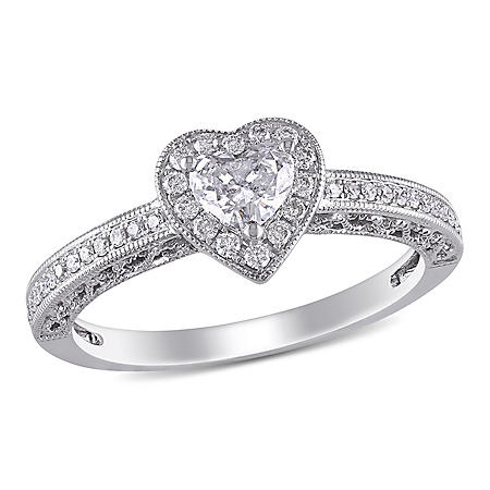 Allura 0.45 CT.T.W. Diamond Halo Heart Vintage Engagement Ring in 14k White Gold