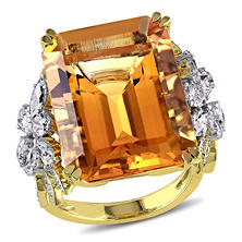 18.40 ct. Citrine and 1.75 ct. t.w. Diamond Flower Design Cocktail Ring in 14K Two-Tone Gold