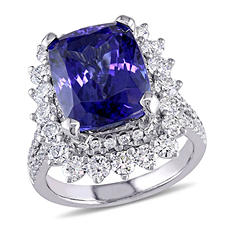 8.60 ct. Tanzanite and 1.71 ct. t.w. Diamond Halo Ring in 14K White Gold