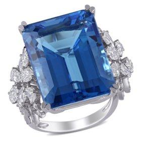 Allura 31 CT. Blue Topaz and 1.75 CT. T.W. Diamond Flower Design Cocktail Ring in 14K White Gold