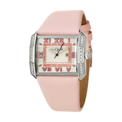 Locman Women's Glamour Stainless Steel Case and Pink Satin Over Leather Strap Diamond Quartz Watch