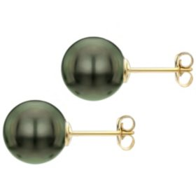 Black Grade AAA Round Tahitian Pearl Stud Earring with 14k Gold Post - Various Pearl Sizes Available