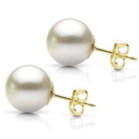 White Grade AAA Round Cultured Freshwater Pearl Stud Earring with 14k Yellow Gold Post - Various Pearl Sizes Available