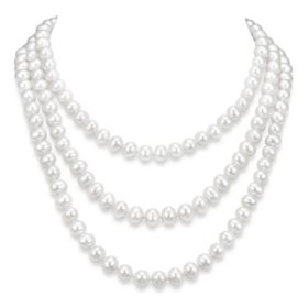 "9-10 mm White Cultured Freshwater Pearl 64"" Endless Necklace"