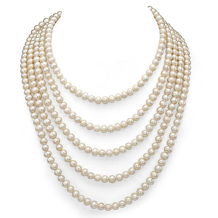 """5-6 mm White Cultured Freshwater Pearl 100"""" Endless Necklace"""