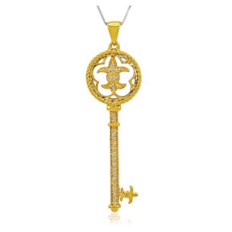 0.10 ct. t.w. Diamond 14k Yellow Gold Key Pendant (H-I, I1)