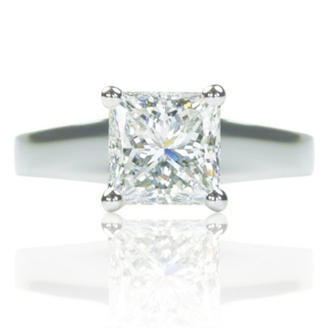 2.00 ct. Princess Cut Diamond Platinum Solitaire Ring (D, VS1)