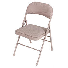 Cosco Padded Fabric Seat & Back Folding Chair, Taupe - 4 pack