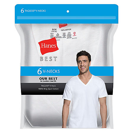 456de2ce Hanes Best 6-Pack V-Neck T-shirt (Assorted Colors) - Sam's Club