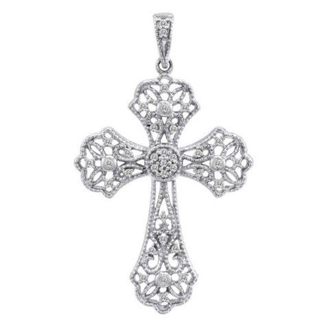 0.13 CT. T.W. Diamond Cross Pendant in 14k White Gold (H-I, I1)
