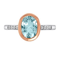 1.50 ct. t.w. Aquamarine and Diamond Accent Ring in 14k Two-Tone Gold