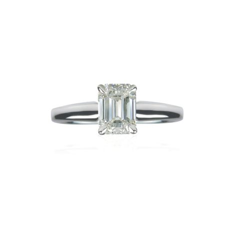 1.31 ct. Emerald-Cut Diamond Ring in Platinum Setting (F, VS2)