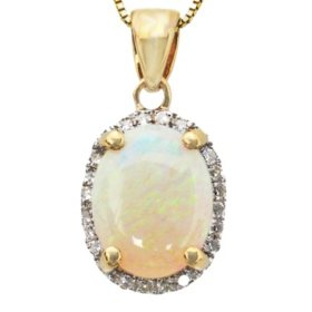 0.75 ct. Oval Opal 0.07 ct. t.w. Diamond Pendant 14K Yellow Gold (H-I, I1)