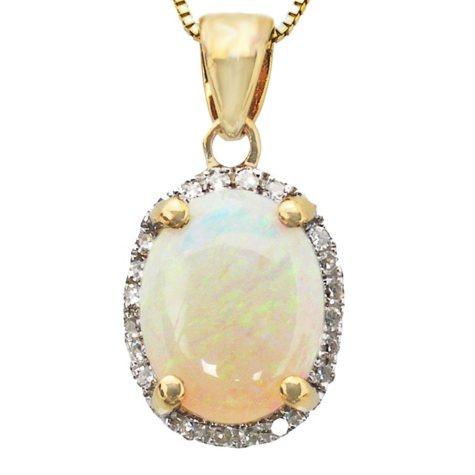 0.75 ct. Oval Opal 0.07 ct. t.w. Diamond Pendant 14K Yellow Gold (H-I, I1)