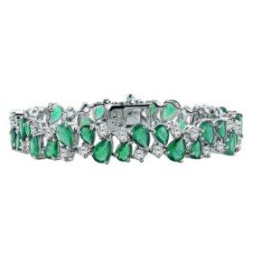 Gem RoManse Green Chalcedony & White Topaz Gemstone Bracelet