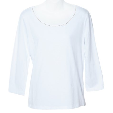 3/4 Sleeve Scoop Neck Studded Top - Various Colors