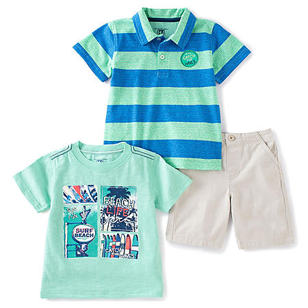 b31fe0d4fa02 Kids Headquarters Boys' 3-Piece Short Set - Green Shorts with Blue and  White Striped Polo and Printed Tee
