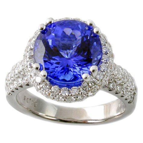 3.72 ct. Round Tanzanite Ring with Diamonds in 18k White Gold (G,SI2)