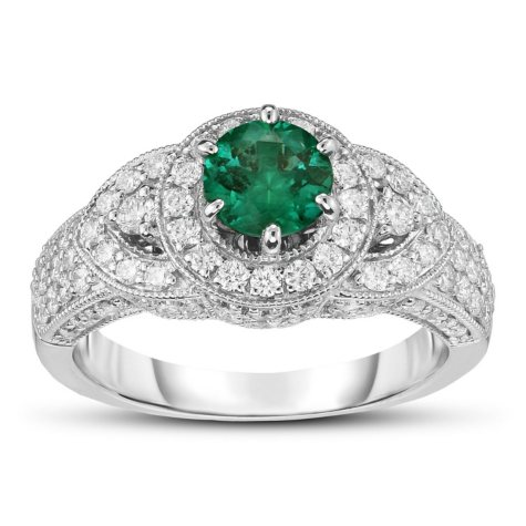 0.75 ct. Round Emerald Ring with Diamonds in 14k White Gold (G,SI2)