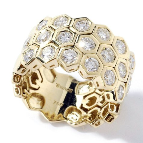 Sonia B. 1.99 ct. t.w. Diamond Honeycomb Ring in 18k Yellow Gold (G-H, SI)
