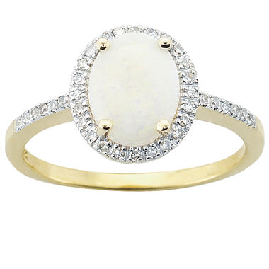Oval Opal And Diamond Ring in 14K Yellow Gold