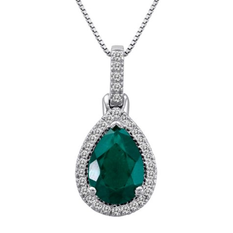 Lab Created Emerald and Diamond Pendant in 14k White Gold