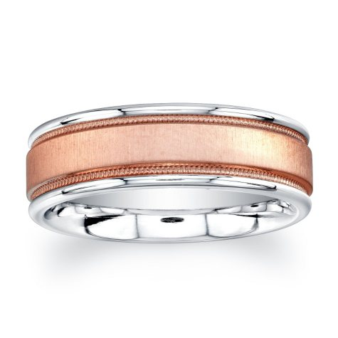 7mm Wedding Band in Cobalt and 14K Rose Gold