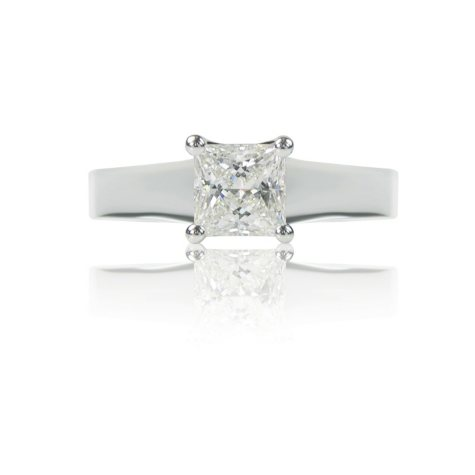 1.01 ct. Princess-Cut Diamond, 14K White Gold Luxury Solitaire Ring (F, VS1)