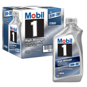 Mobil 1 5W-30 High Mileage Advanced Full Synthetic Motor Oil (6 pack, 1-quart bottles)