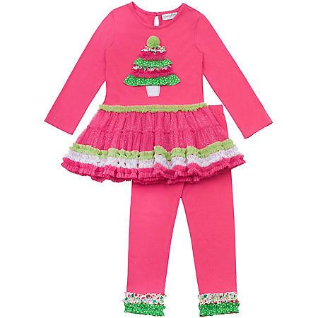 f72e15954ae8 Emily Rose 2 piece Girls Tutu and Legging Set - Christmas Tree ...