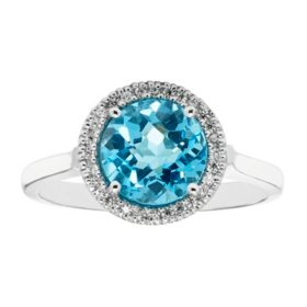Blue Topaz Diamond Ring in 14K White Gold