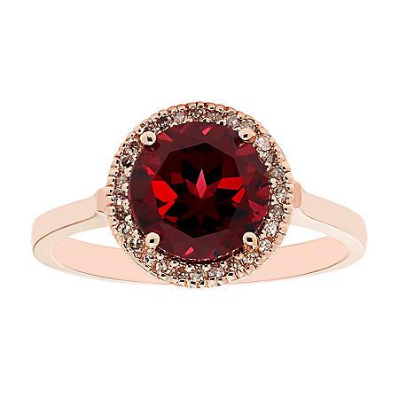Garnet and Diamond Ring in 14K Gold