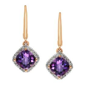 Amethyst and Diamond Earrings in 14K Yellow Gold