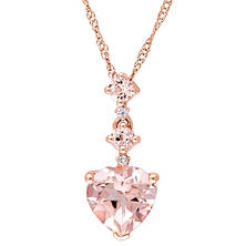 1.25 ct. Morganite Heart Pendant with Diamond Accent in 14K Rose Gold