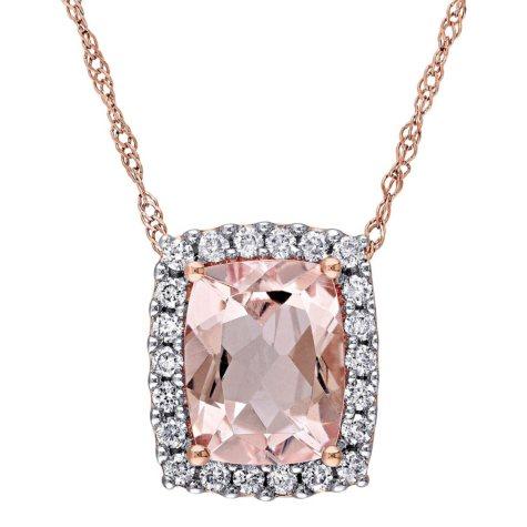 1.75 ct. Morganite and Diamond Halo Pendant in 14K Rose Gold
