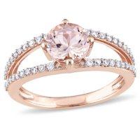 Morganite with 0.28 CT. T.W. Diamond Split Band Ring in 14K Rose Gold