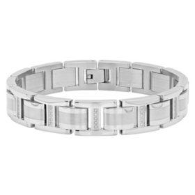 Men's .50 CT. T.W. Stainless Steel Bracelet