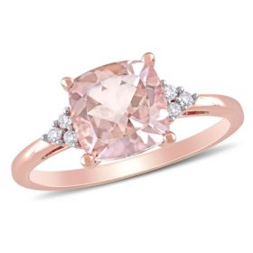 2.00 CT. Morganite and Diamond Accent Cocktail Ring in 14K Rose Gold
