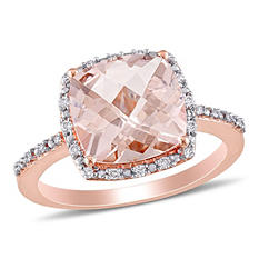 3.00 ct. Morganite with Diamond Halo Cocktail Ring in 14K Rose Gold