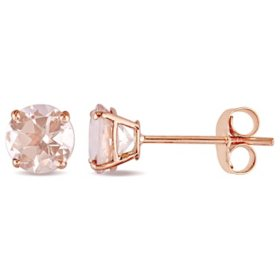 1.0 CT. Morganite Solitaire Stud Earrings in 14K Rose Gold