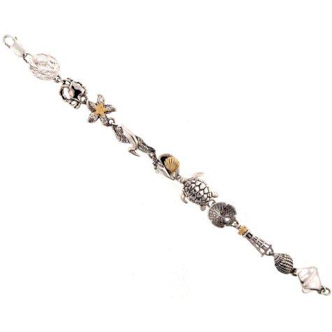 Sealife Themed Bracelet in Sterling Silver & 14K Yellow Gold