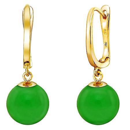8 mm Round Green Jade Dangle Earrings