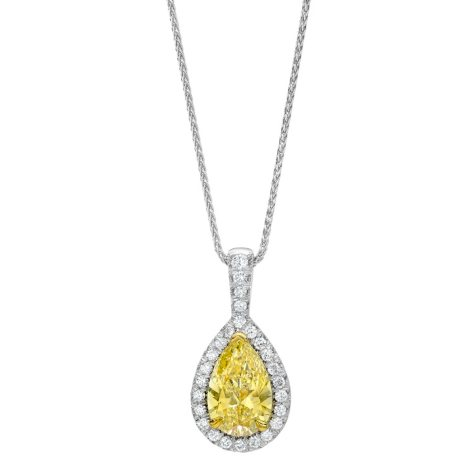 1.34 CT. T.W. Fancy Light Yellow Pear Shape Halo Pendant In 18K Gold