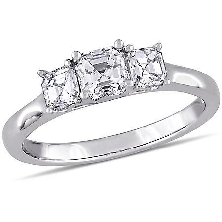 Allura Asscher-Cut Three-Stone Diamond Engagement Ring in 14K White Gold