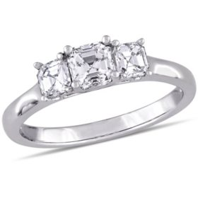Allura Asscher-Cut Three-Stone Diamond Engagement Ring in 14K White Gold