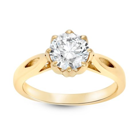 1.49 CT. Round Brilliant Lab-Grown Diamond Solitaire Ring in 14K Yellow Gold (H, SI1)