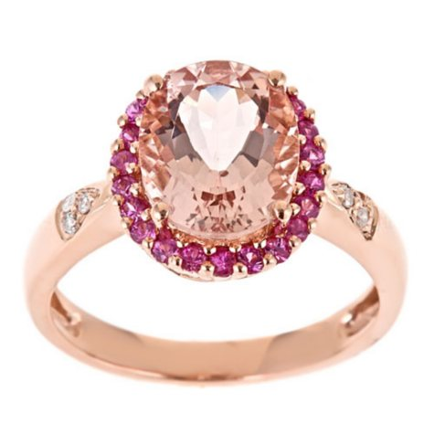 Morganite, Pink Sapphire and Diamond Accent Ring in 14k Rose Gold