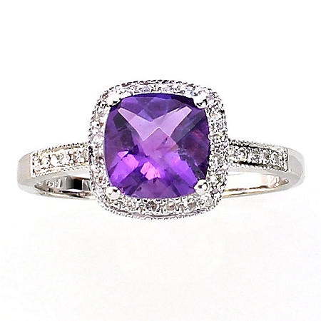 Cushion Cut Amethyst Ring with Diamonds in 14K White Gold