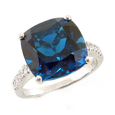 Cushion Cut London Blue Topaz Ring with Diamonds in 14K White Gold