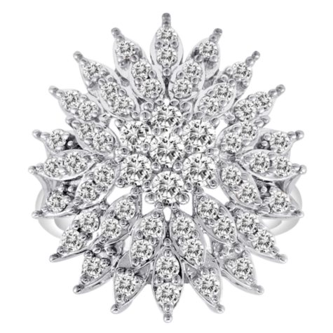 1.50 CT. T.W. Floral Design Diamond Ring in 14K White Gold (H-I, I1)